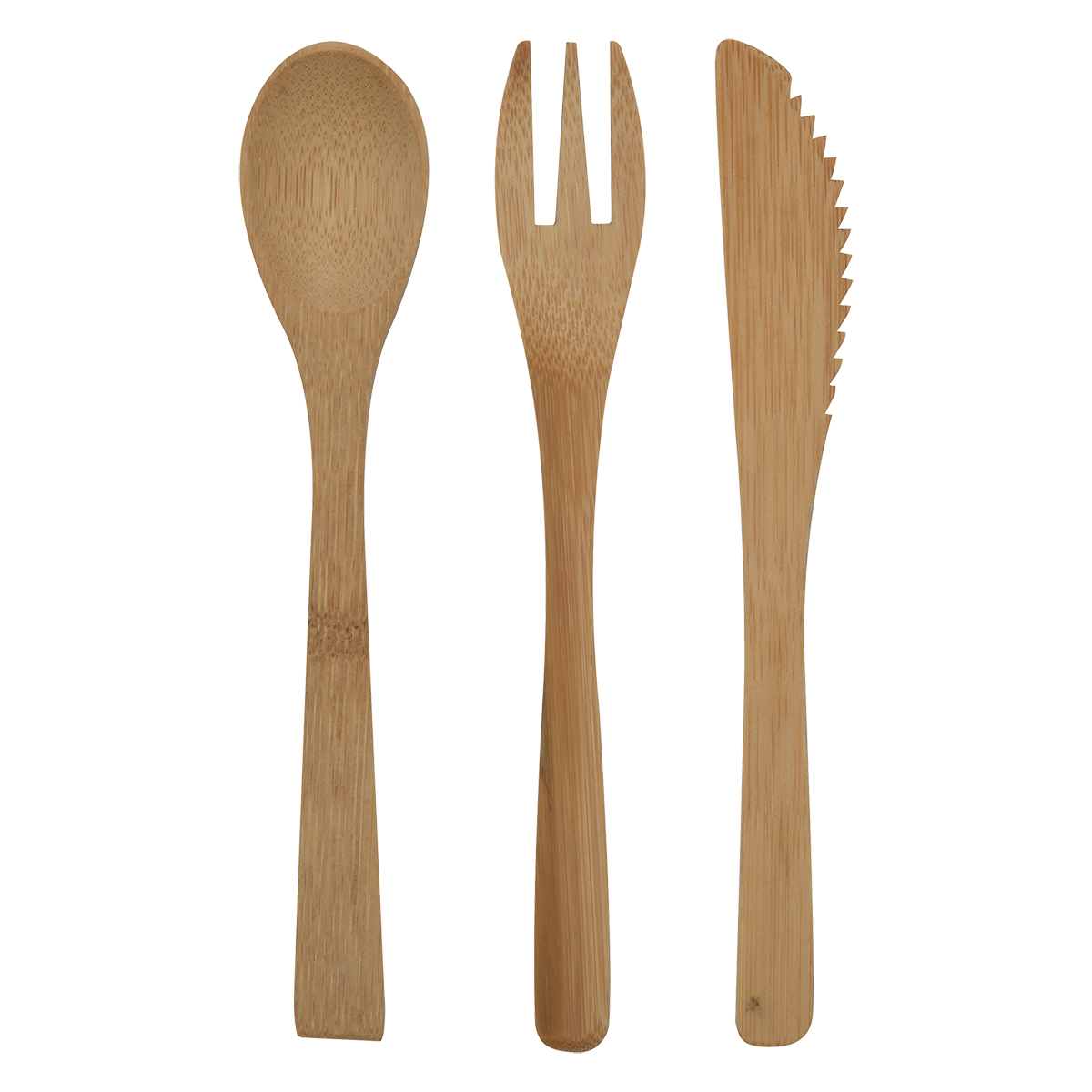 3-Piece Bamboo Utensil Set In Travel Pouch