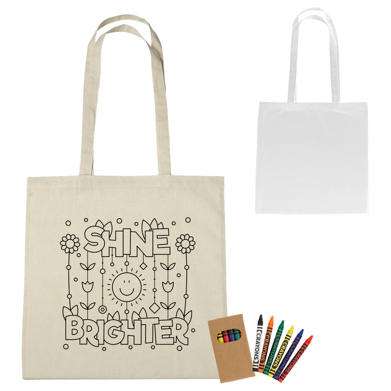 100% Cotton Coloring Tote Bag With Crayons
