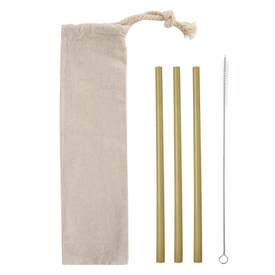 3-Pack Bamboo Straw Kit In Cotton Pouch