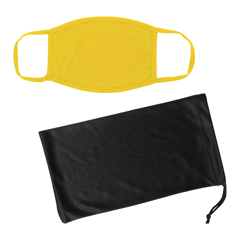Cotton Reusable Mask & Mask Pouch With Antimicrobial Additive