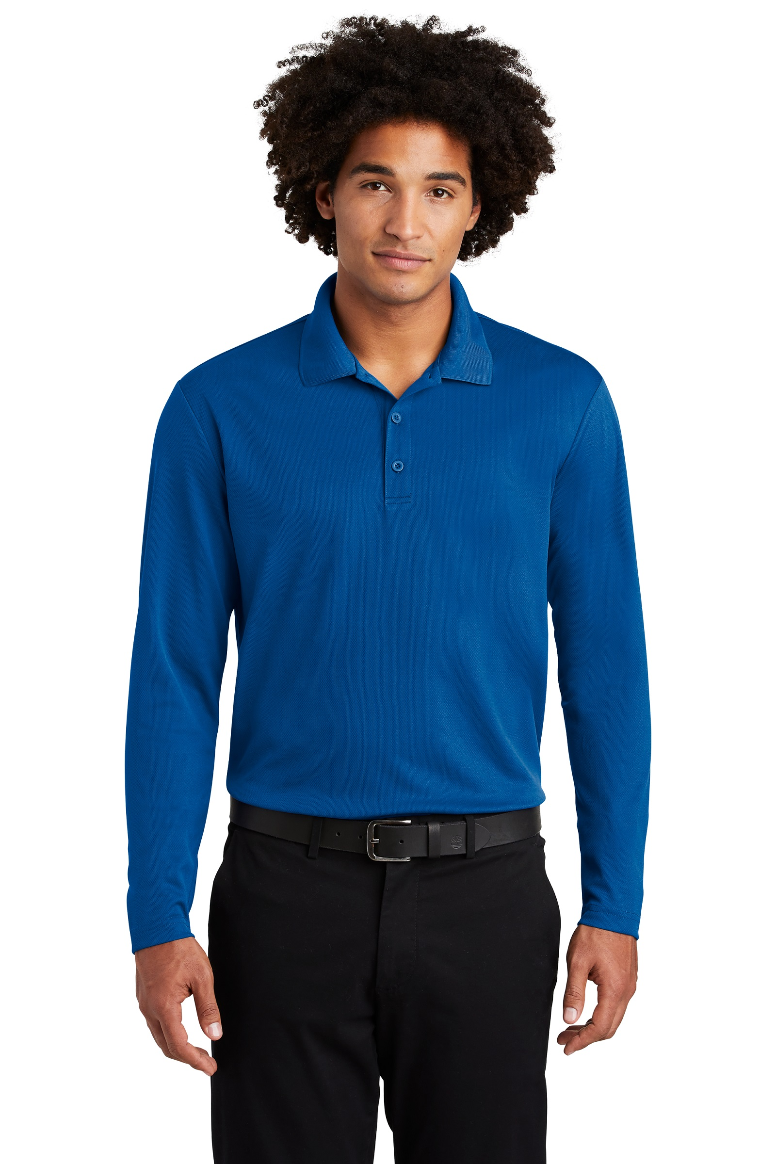 Sport-Tek Embroidered Men's 100% Performance RacerMesh Long Sleeve Polo