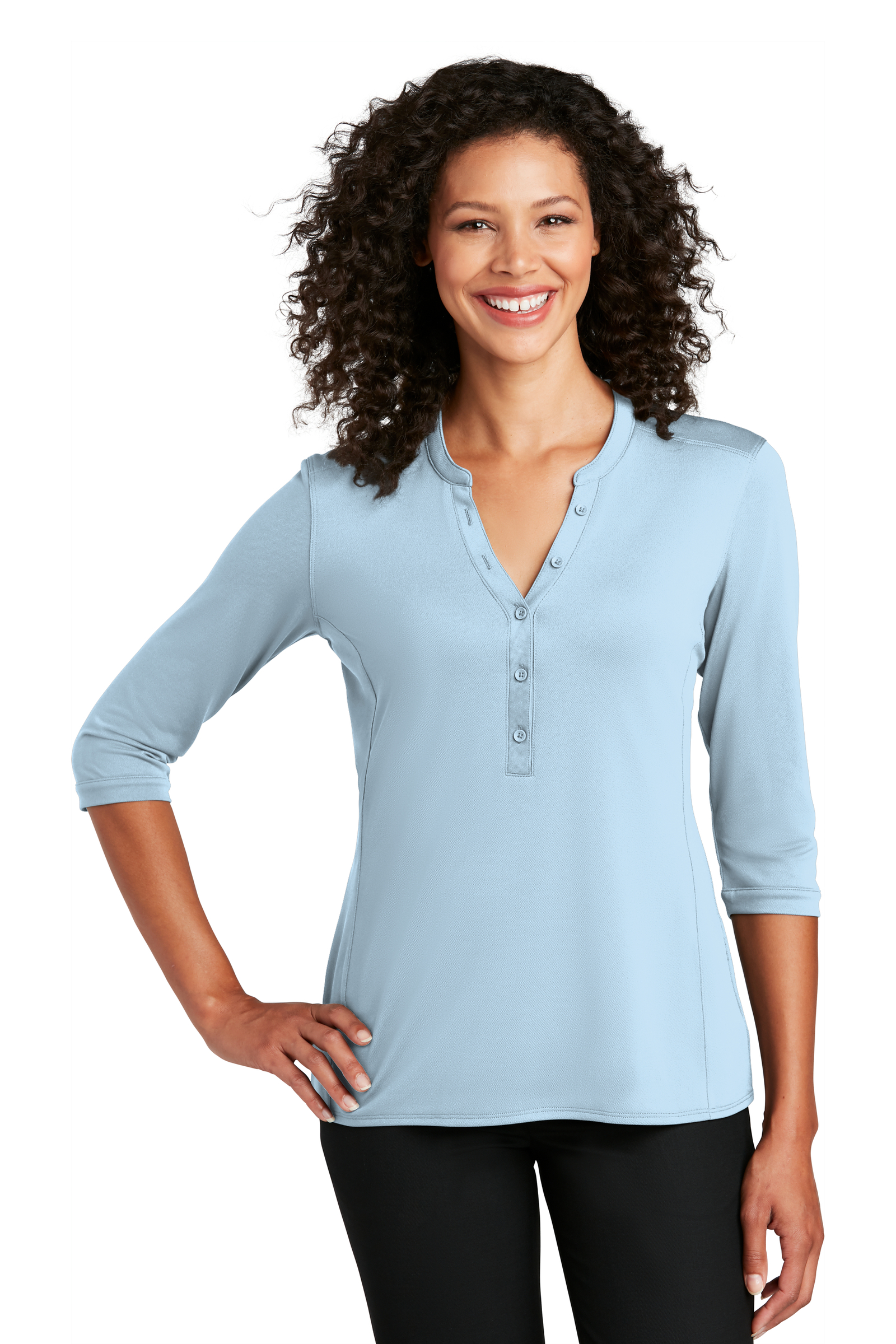 Port Authority Embroidered Women's UV Choice Pique Henley