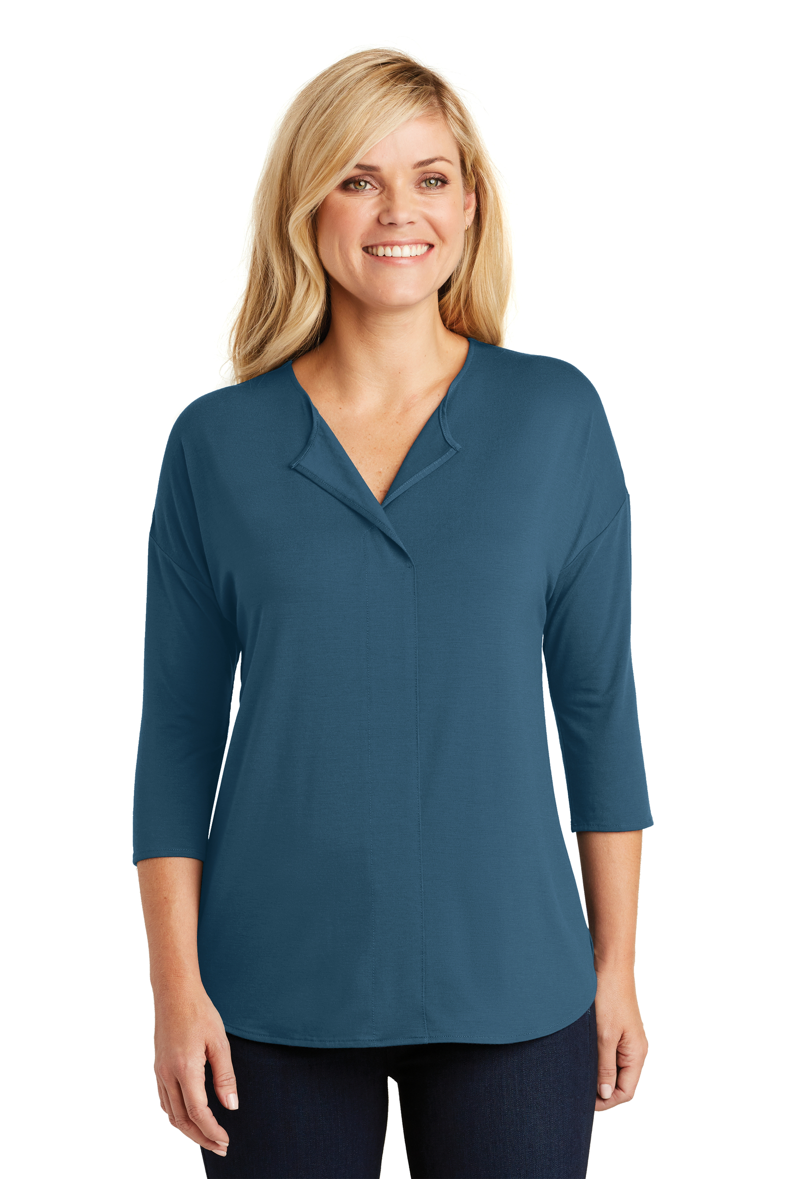 Port Authority Embroidered Women's Concept 3/4-Sleeve Soft Split Neck Top