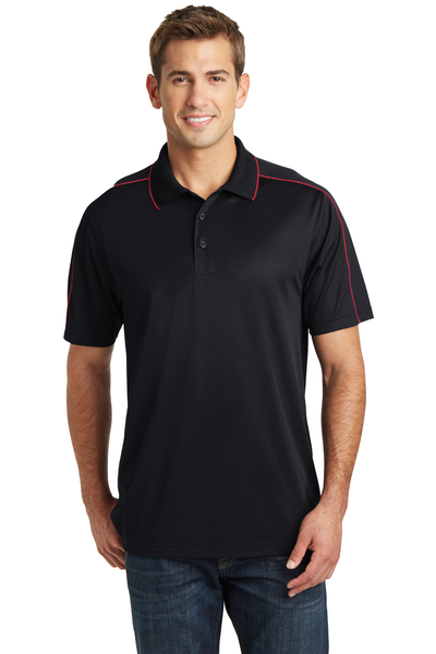 Sport-Tek Embroidered Men's Micropique Sport-Wick Piped Polo