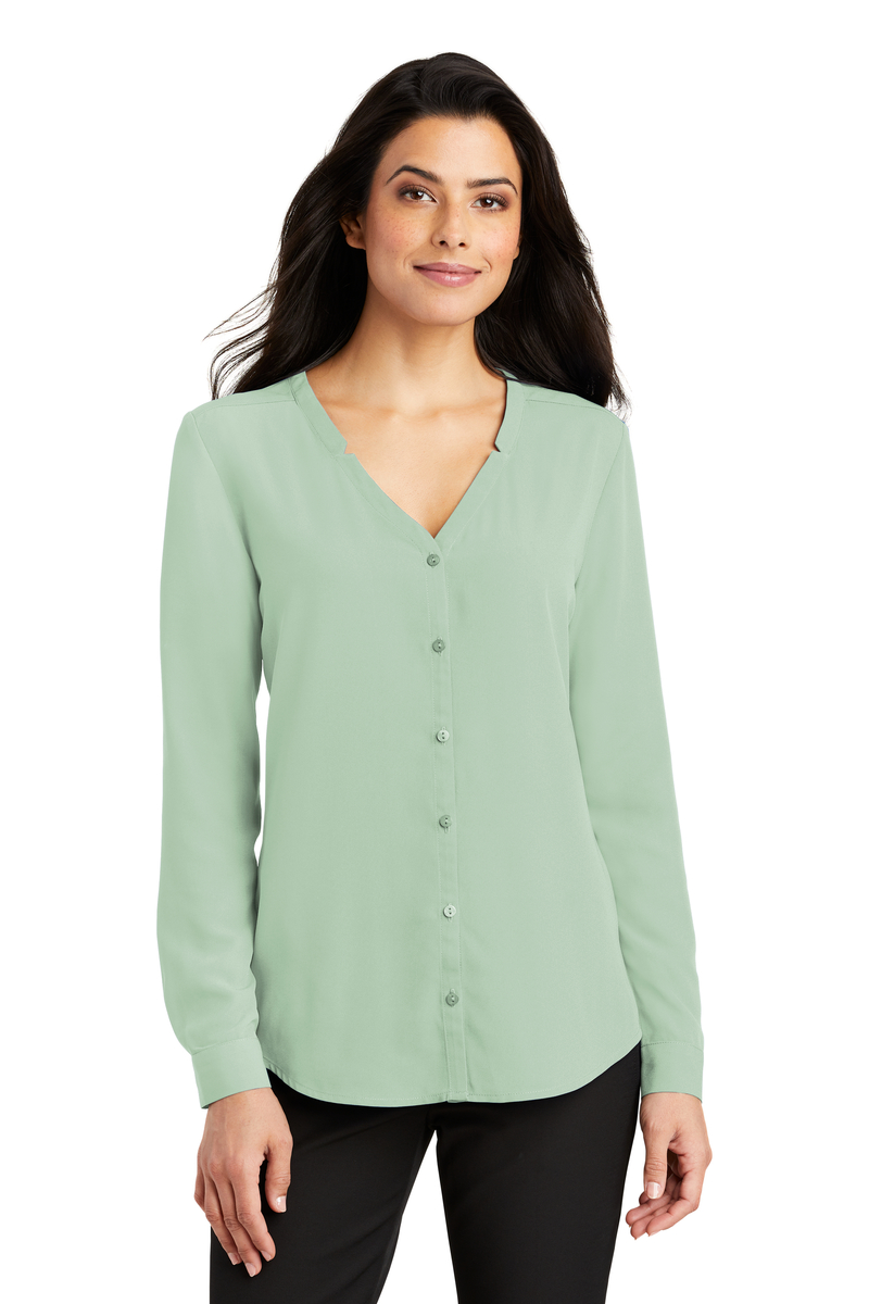 Port Authority Embroidered Women's Long Sleeve Button-Front Blouse