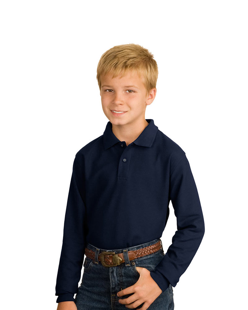 Port Authority Embroidered Youth Long Sleeve Silk Touch  Pique Polo