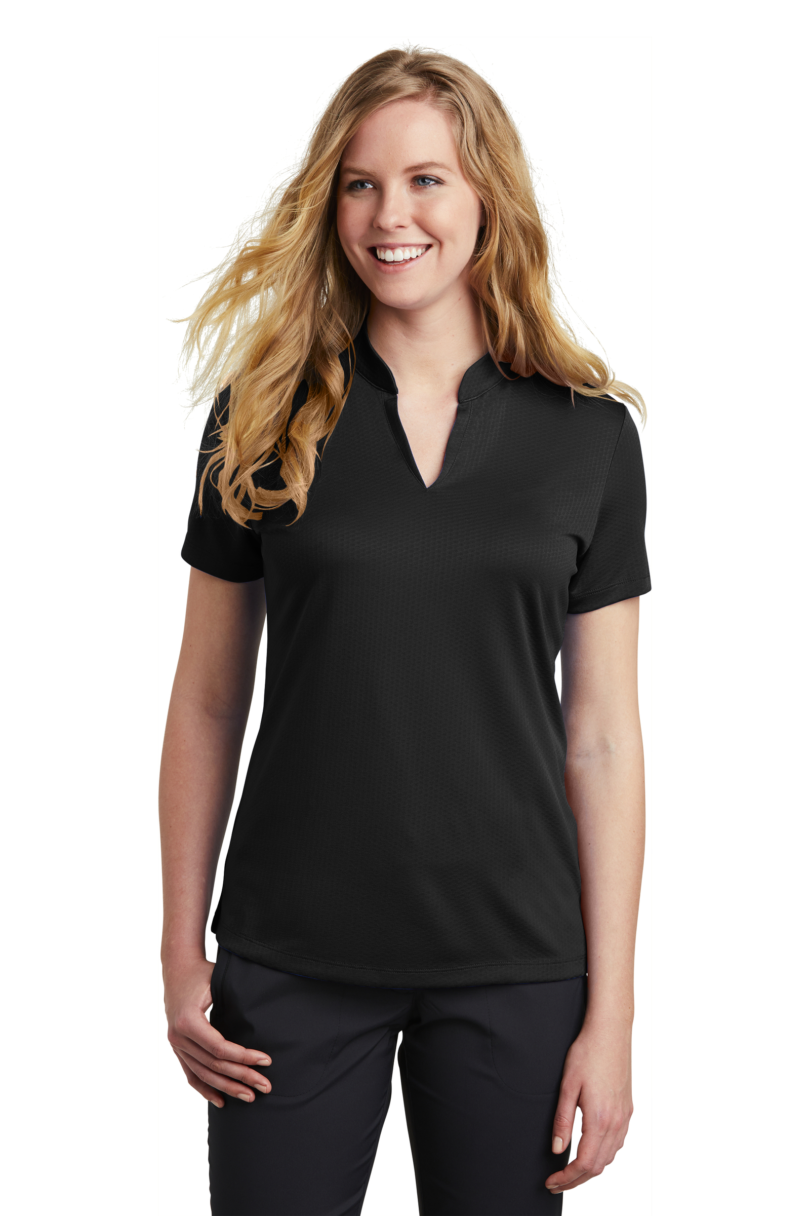 Nike Embroidered Women's Dri-FIT Hex Textured V-Neck Top
