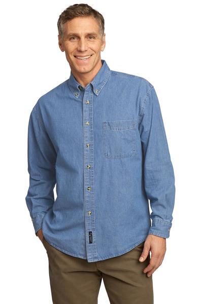 Port & Company Embroidered Men's Long Sleeve Denim Shirt