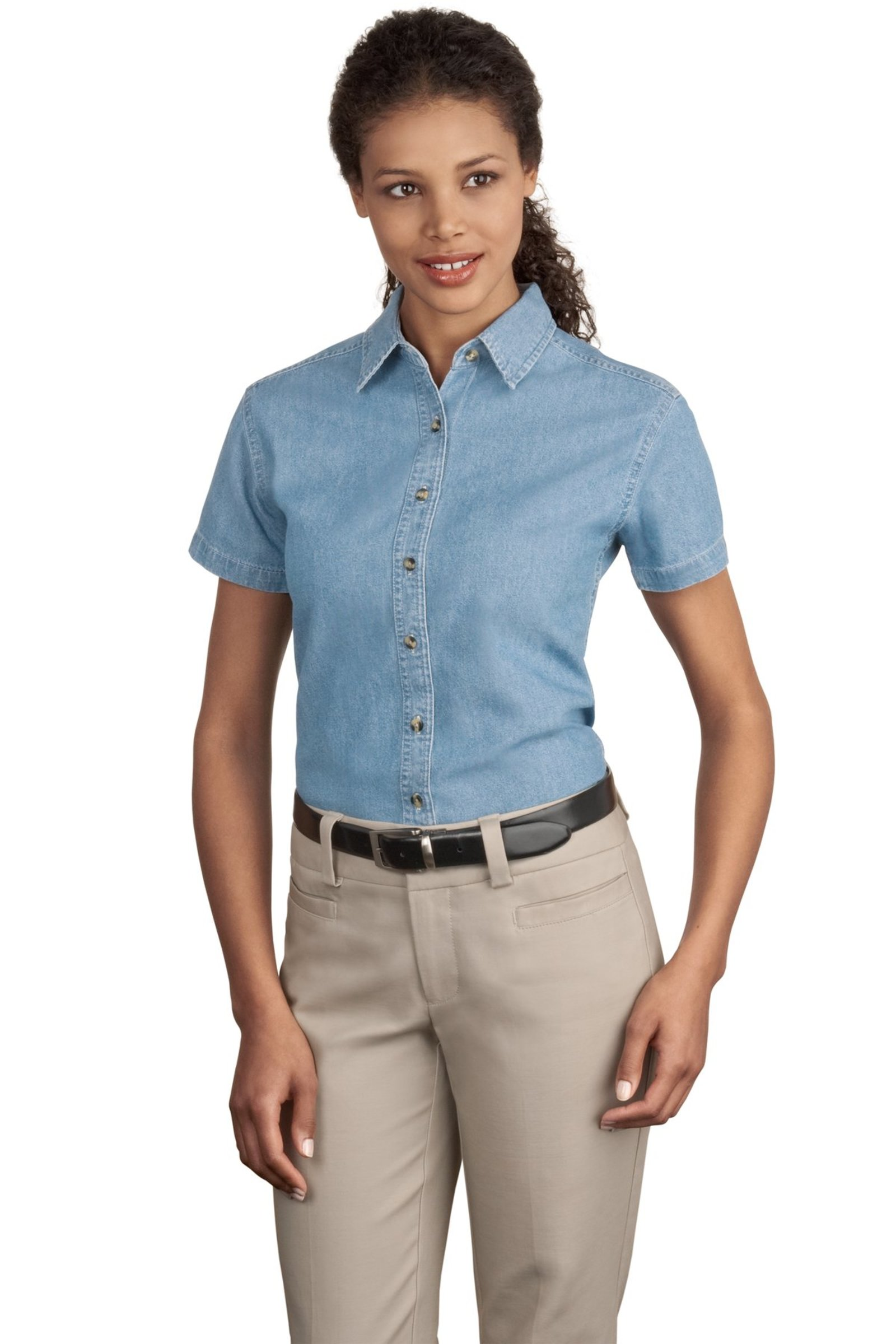 Port & Company Embroidered Women's Short Sleeve Denim Shirt