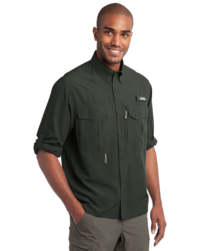 Eddie Bauer Embroidered Men's Long Sleeve Performance Fishing Shirt