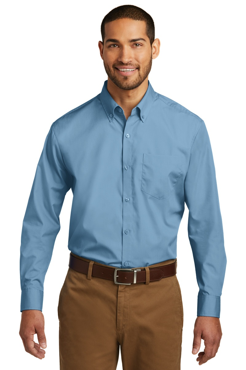 Port Authority Embroidered Men's Long Sleeve Carefree Poplin Shirt