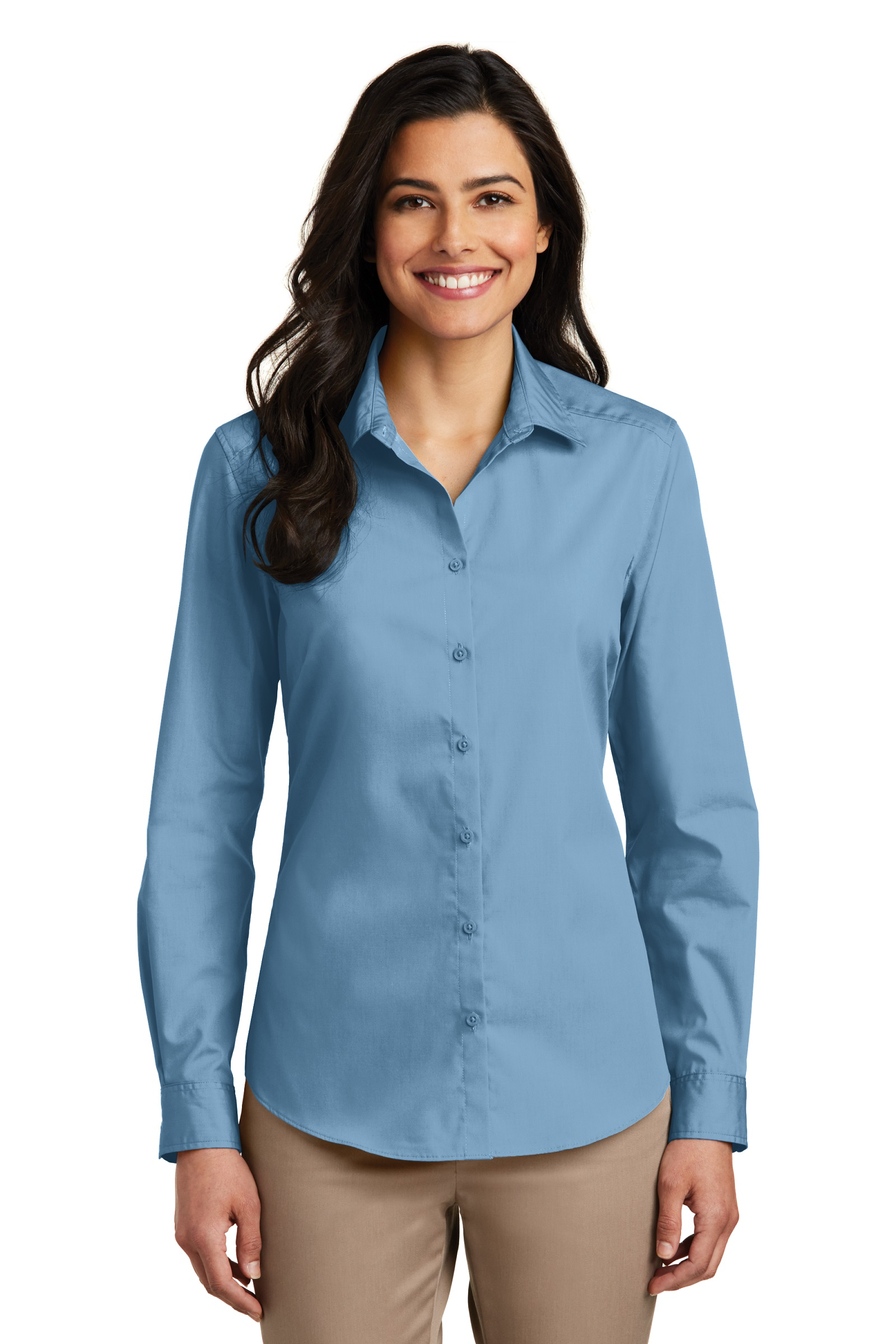 Port Authority Embroidered Women's Long Sleeve Carefree Poplin Shirt