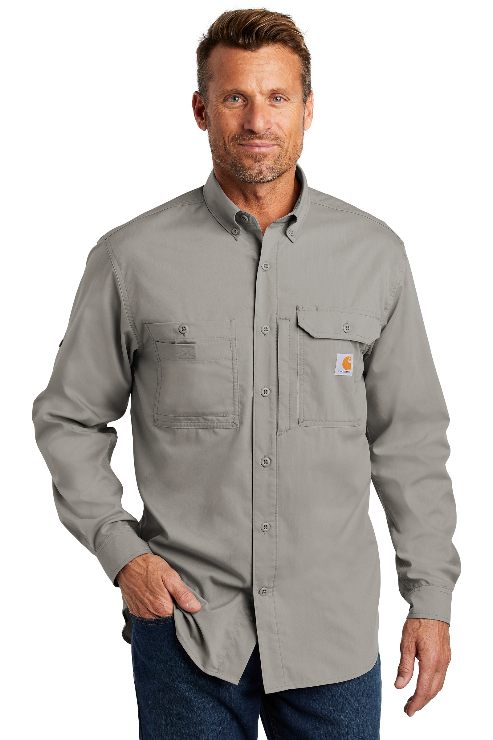 473b2d52 Carhartt Force Embroidered Ridgefield Solid Long Sleeve Shirt ...