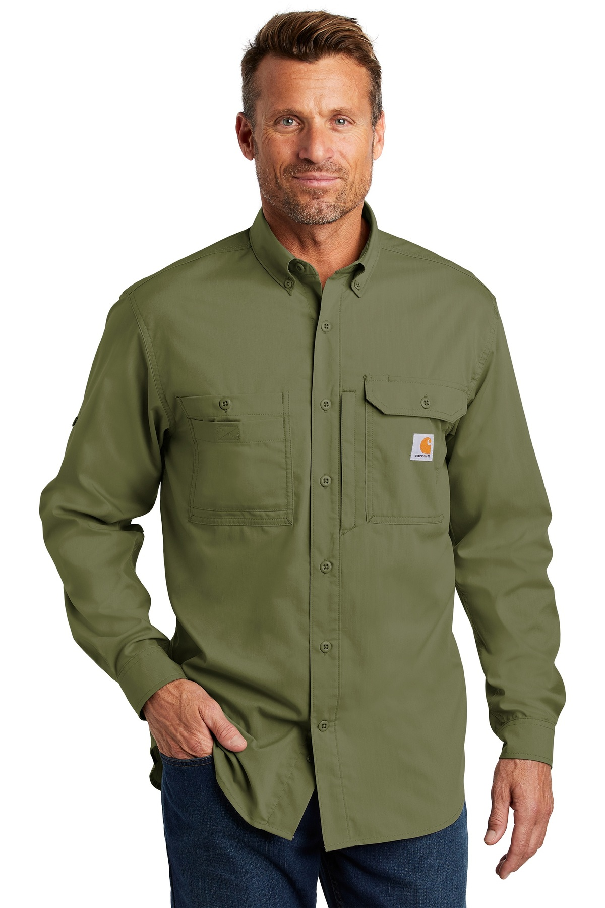 eb4be168 Carhartt Force Embroidered Ridgefield Solid Long Sleeve Shirt - Queensboro