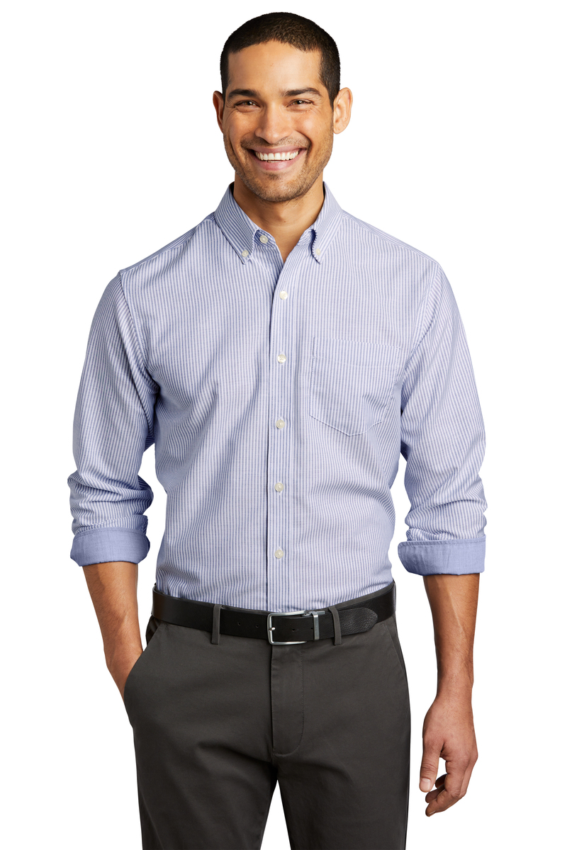 Port Authority Embroidered Men's Oxford SuperPro Stripe Shirt