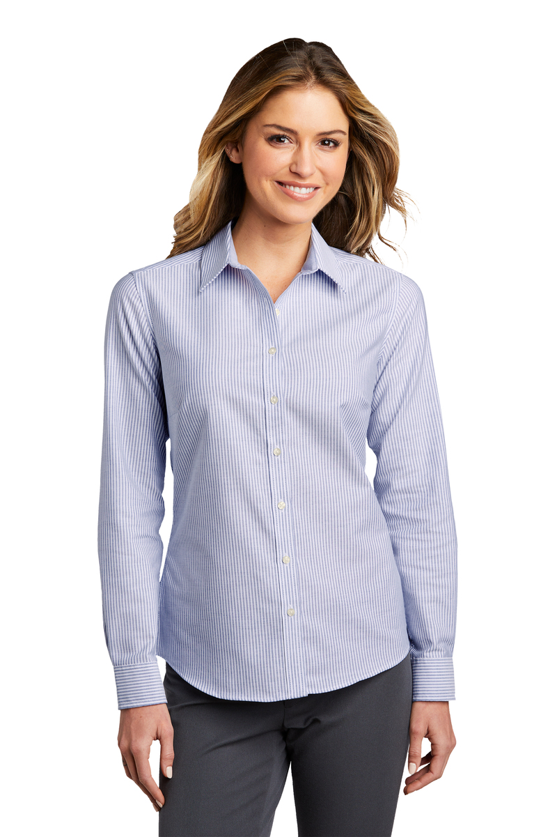 Port Authority Embroidered Women's Oxford SuperPro Stripe Shirt