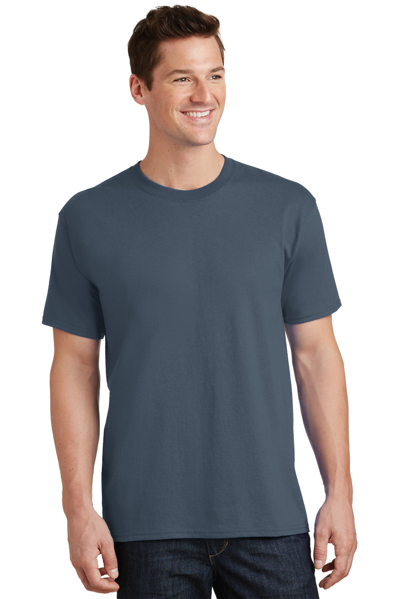 Port & Company Printed Men's Core Cotton Tee - Single Color Logo