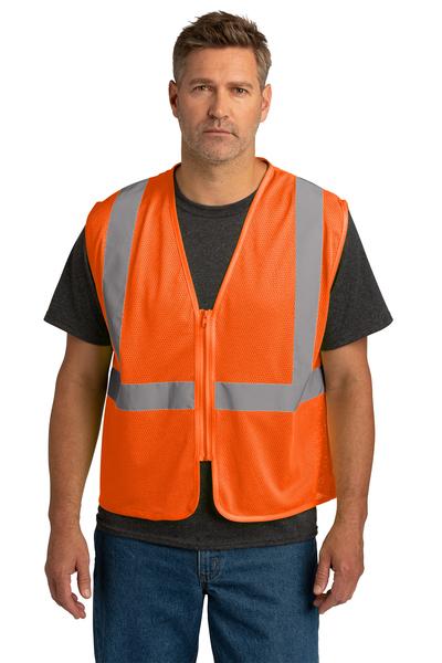CornerStone Embroidered ANSI 107 Class 2 Economy Mesh Zippered Vest