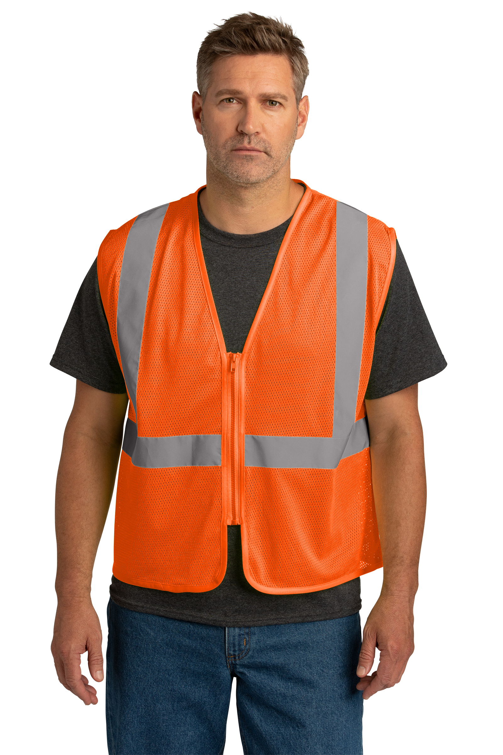 CornerStone Embroidered ANSI 107 Class 2 Economy Mesh Zippered Vest