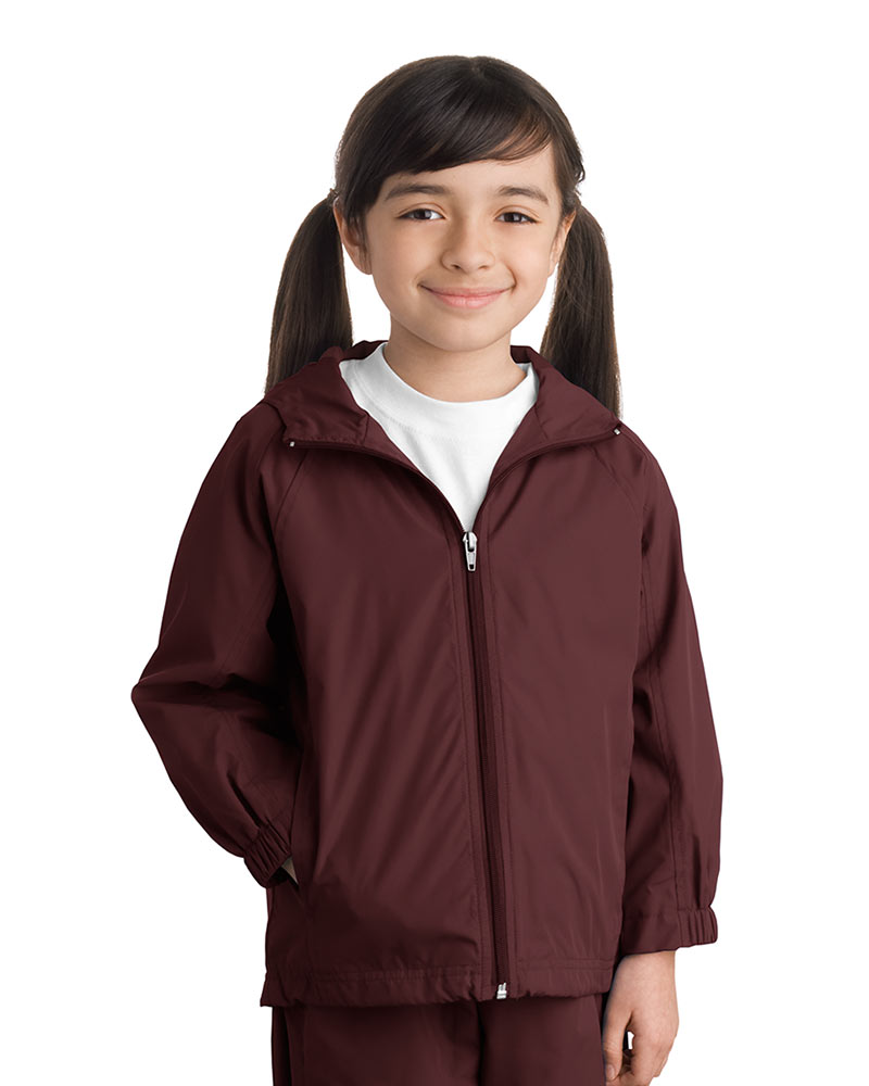 Sport-Tek  Embroidered Youth Hooded Weather Resistant Jacket