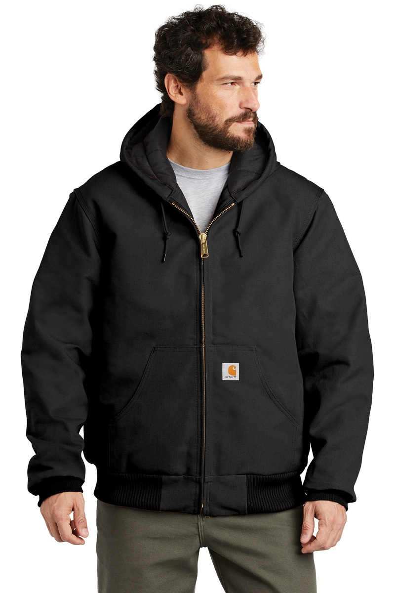 Carhartt Embroidered Men's Quilted-Flannel-Lined Duck Active Jacket