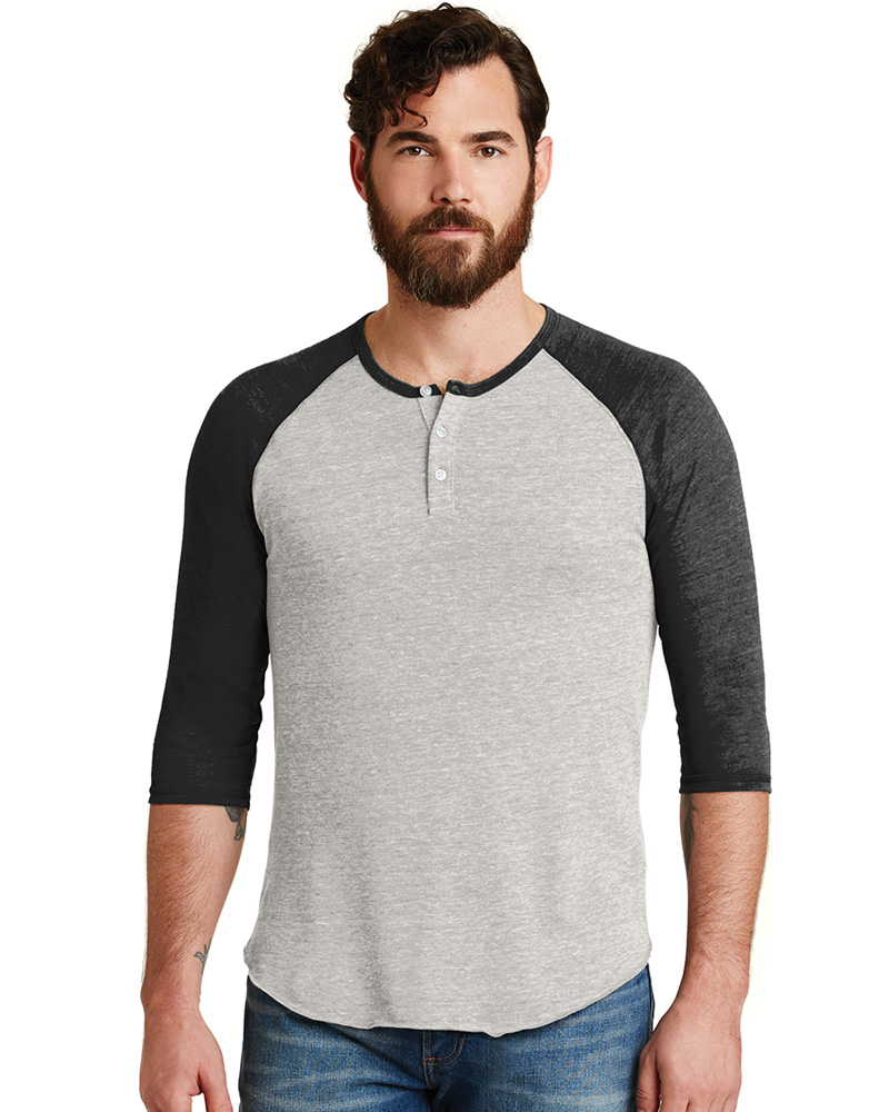 Alternative Printed  Men's Eco-Jersey 3/4-Sleeve Raglan Henley