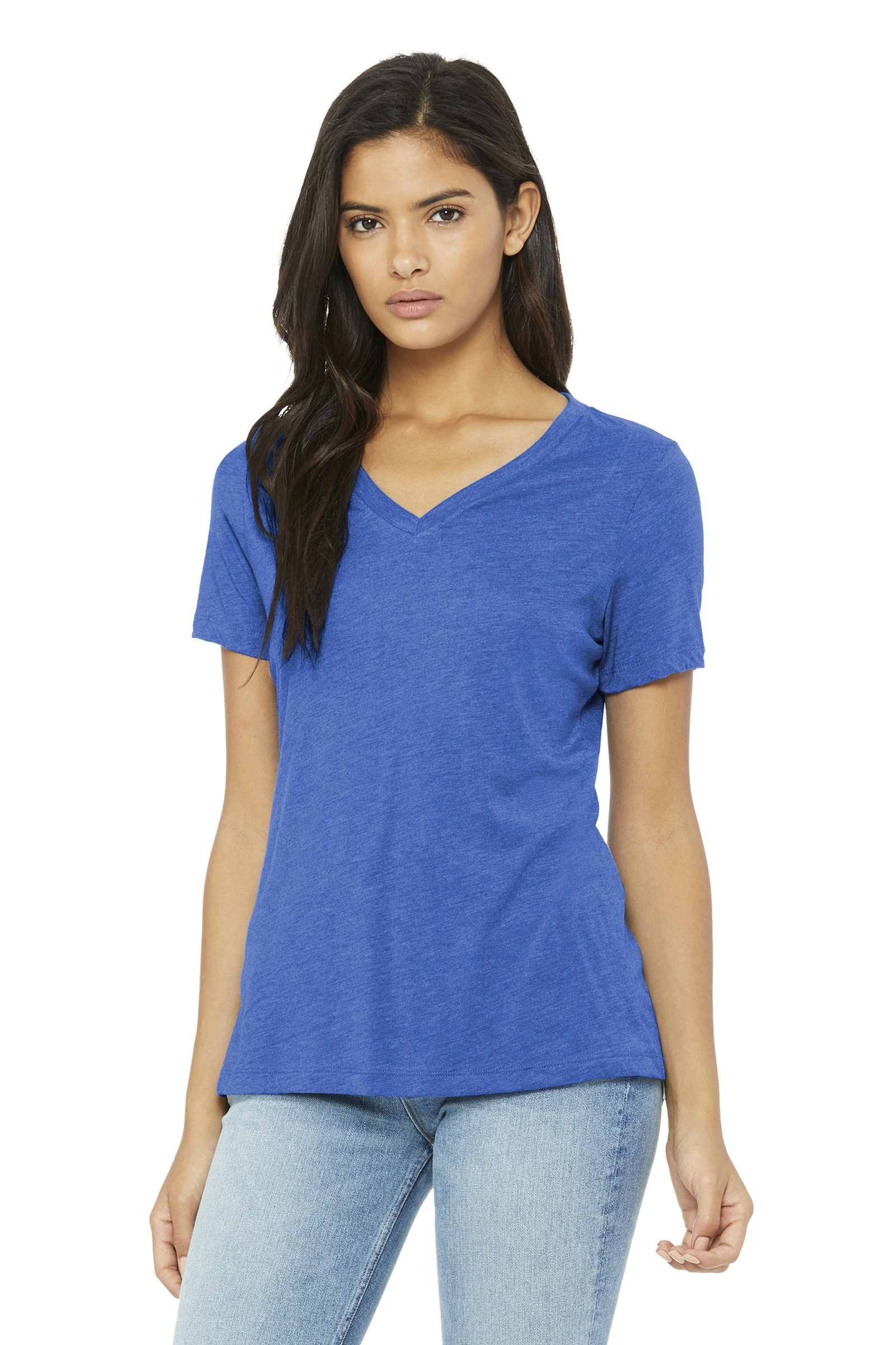 Bella + Canvas Embroidered Women's Relaxed Short Sleeve V-Neck Tee