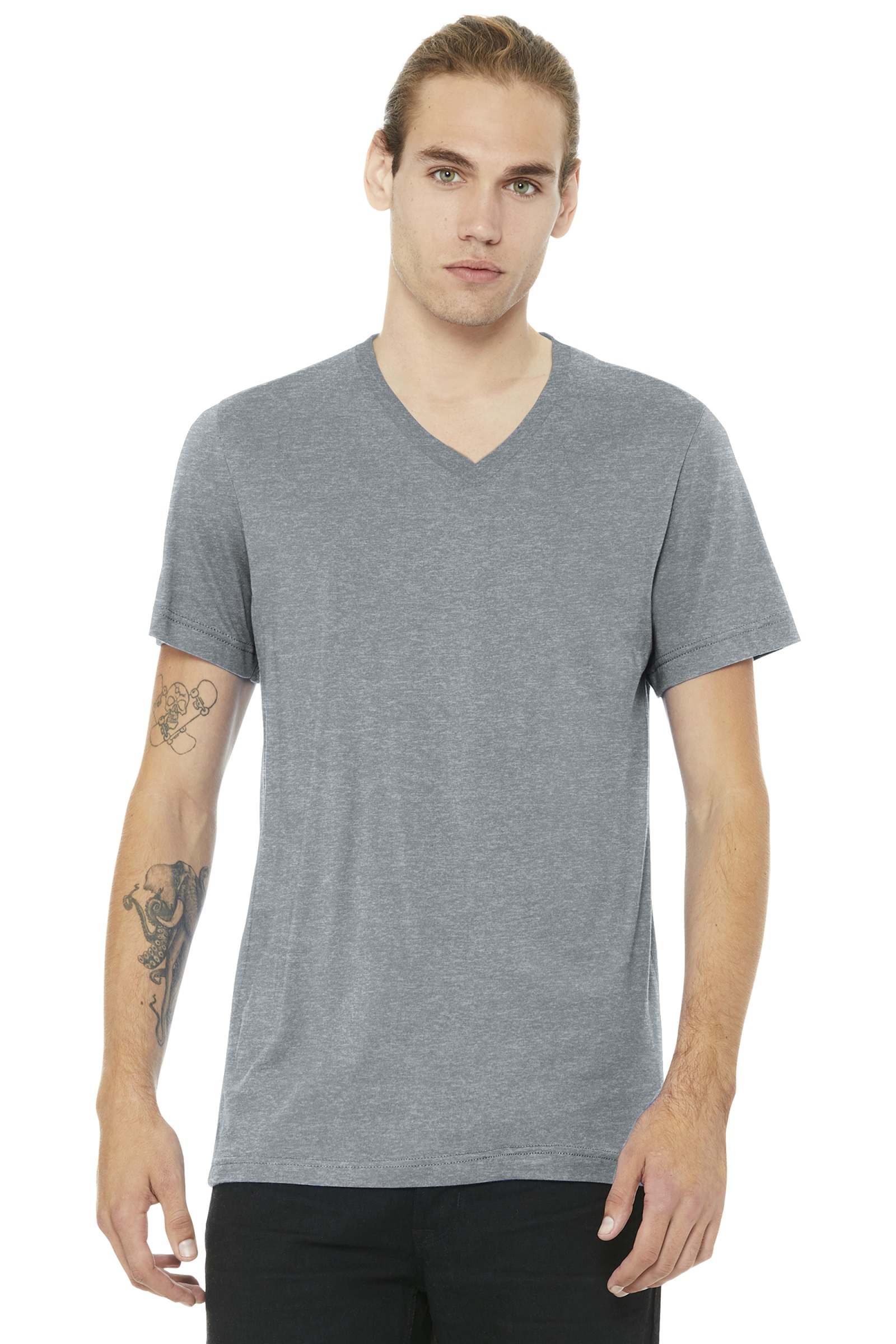 Bella+Canvas Embroidered Men's Jersey Short Sleeve V-Neck Tee
