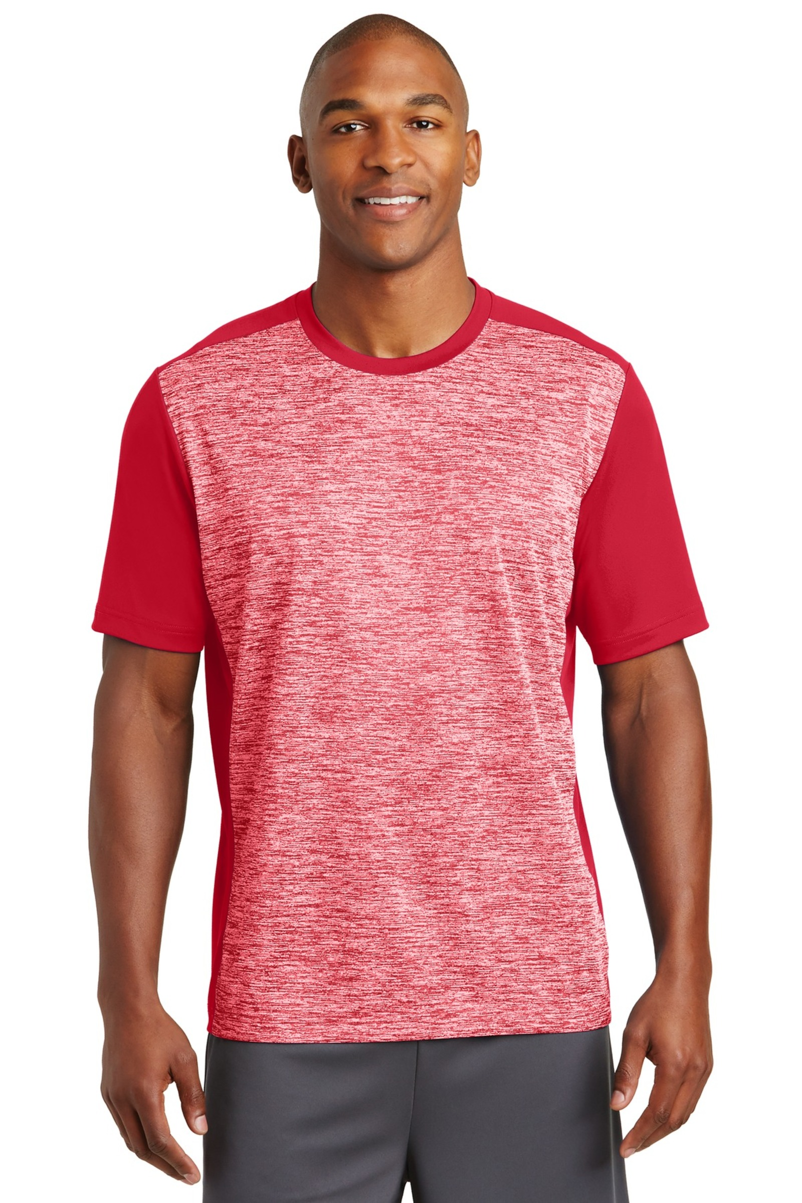 Sport-Tek Printed Men's PosiCharge Electric Heather Colorblock Tee