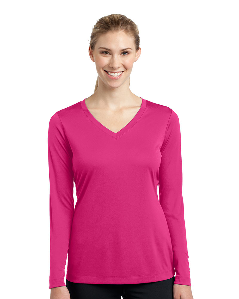 Sport-Tek Printed Women's Long Sleeve V-Neck Competitor Tee
