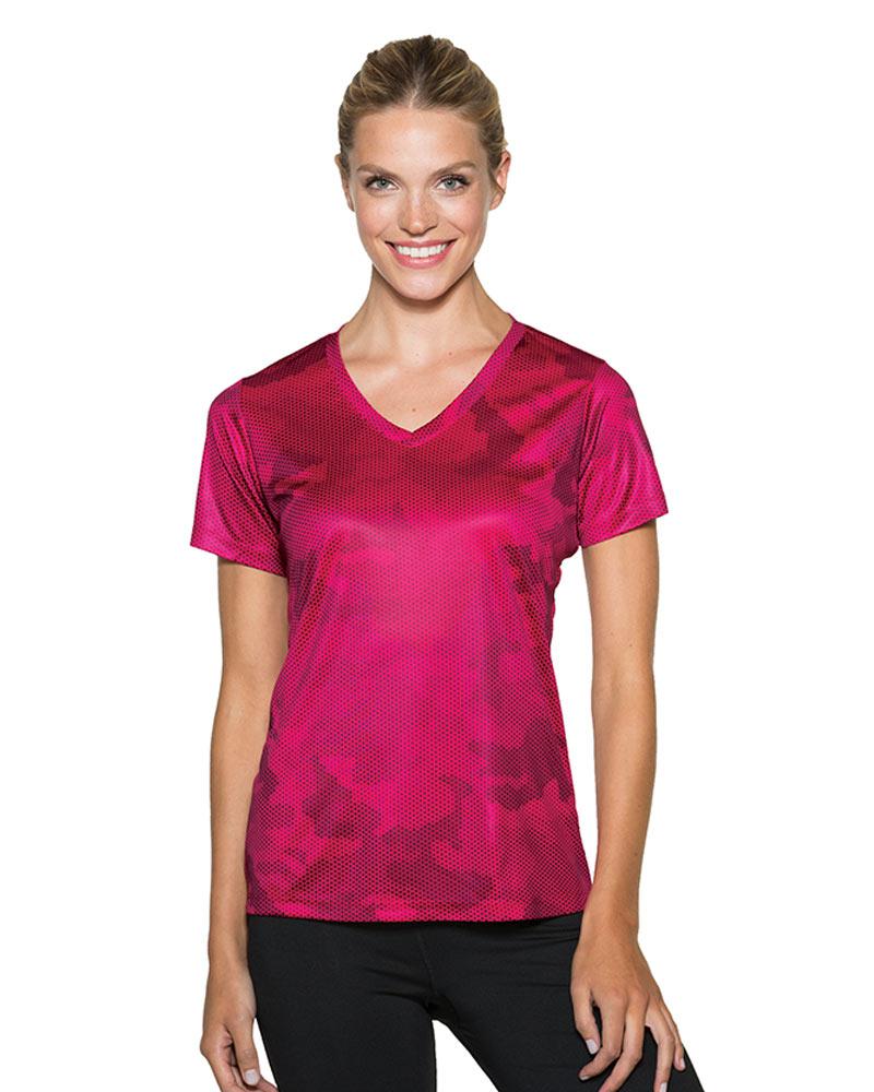 Sport-Tek Printed Women's CamoHex V-Neck Tee