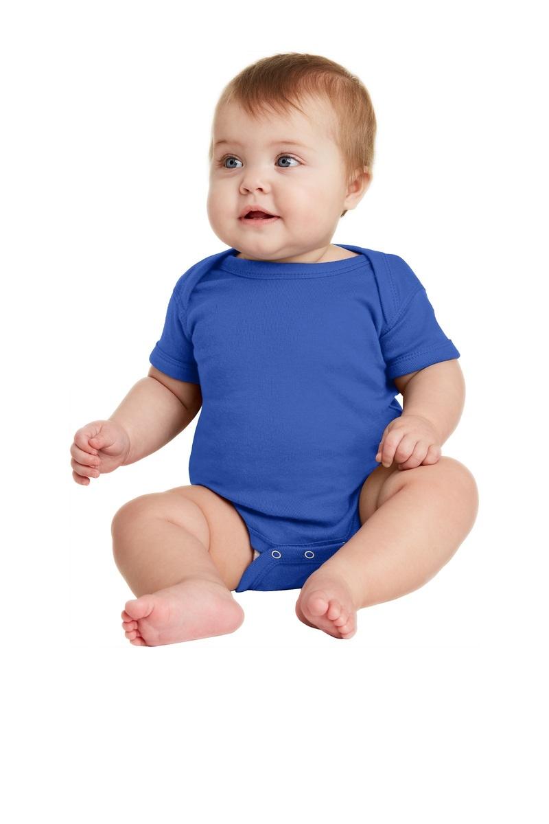 Rabbit Skins Embroidered Infant Short Sleeve Baby Rib Bodysuit