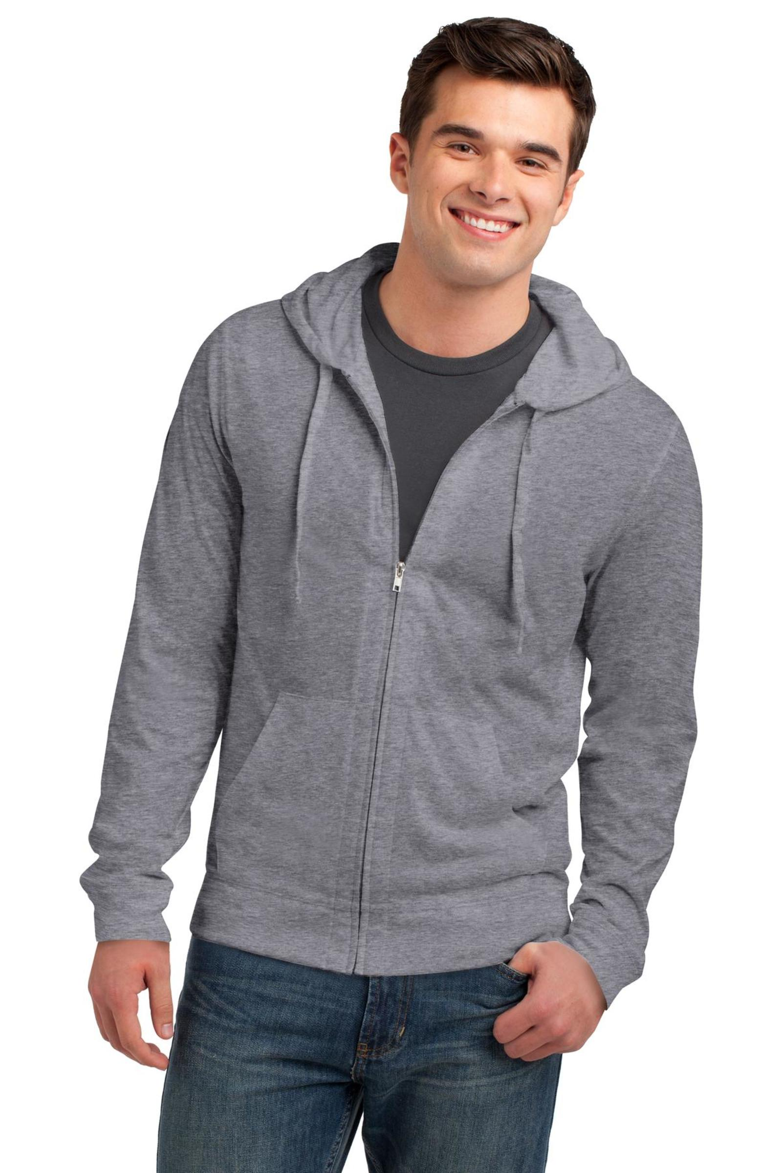 District Embroidered Men's Jersey Full-Zip Hooded Tee