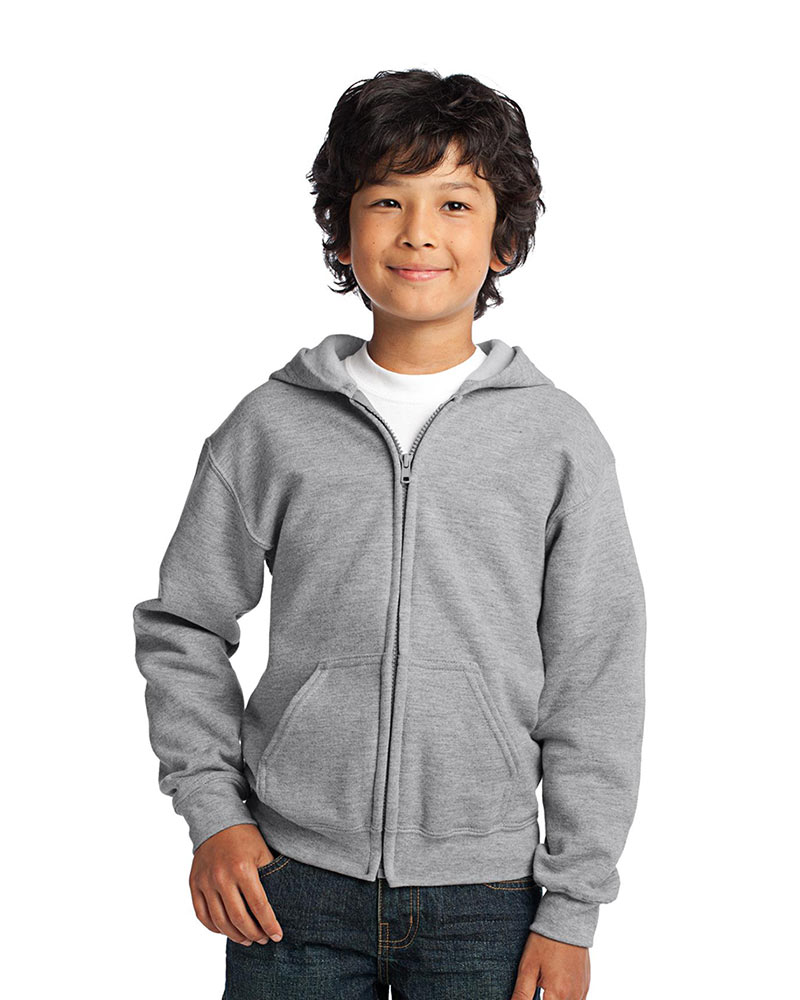 Gildan Printed Youth Full Zip Hooded Sweatshirt