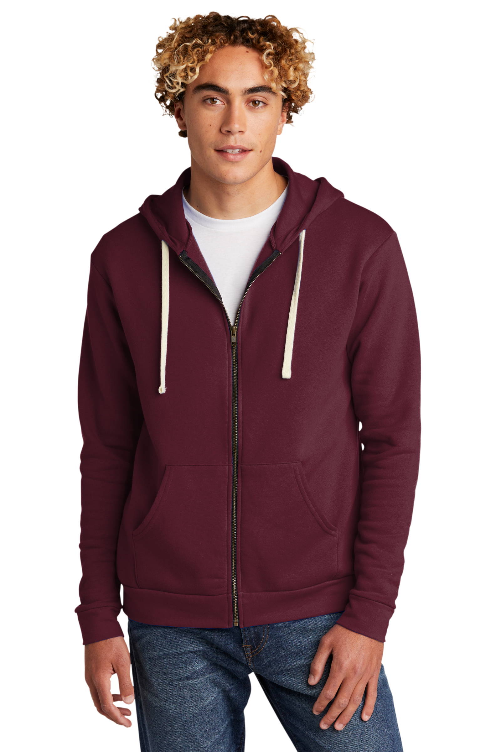 Next Level Embroidered Men's Beach Fleece Full-Zip Hoodie