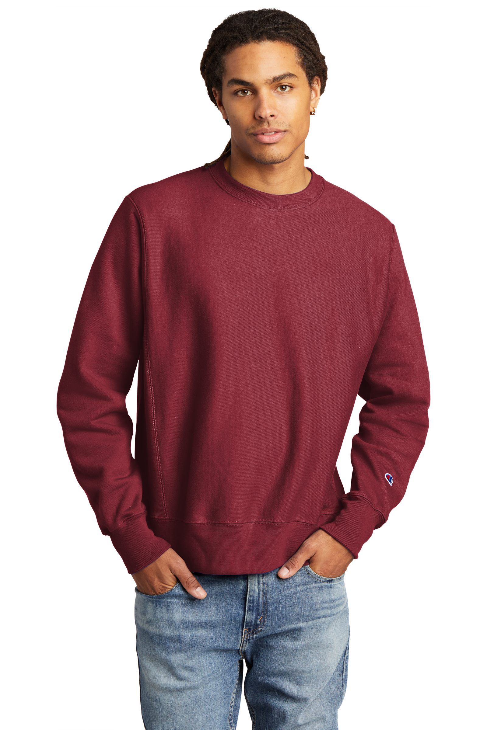 Champion Embroidered Men's Reverse Weave Crewneck Sweatshirt
