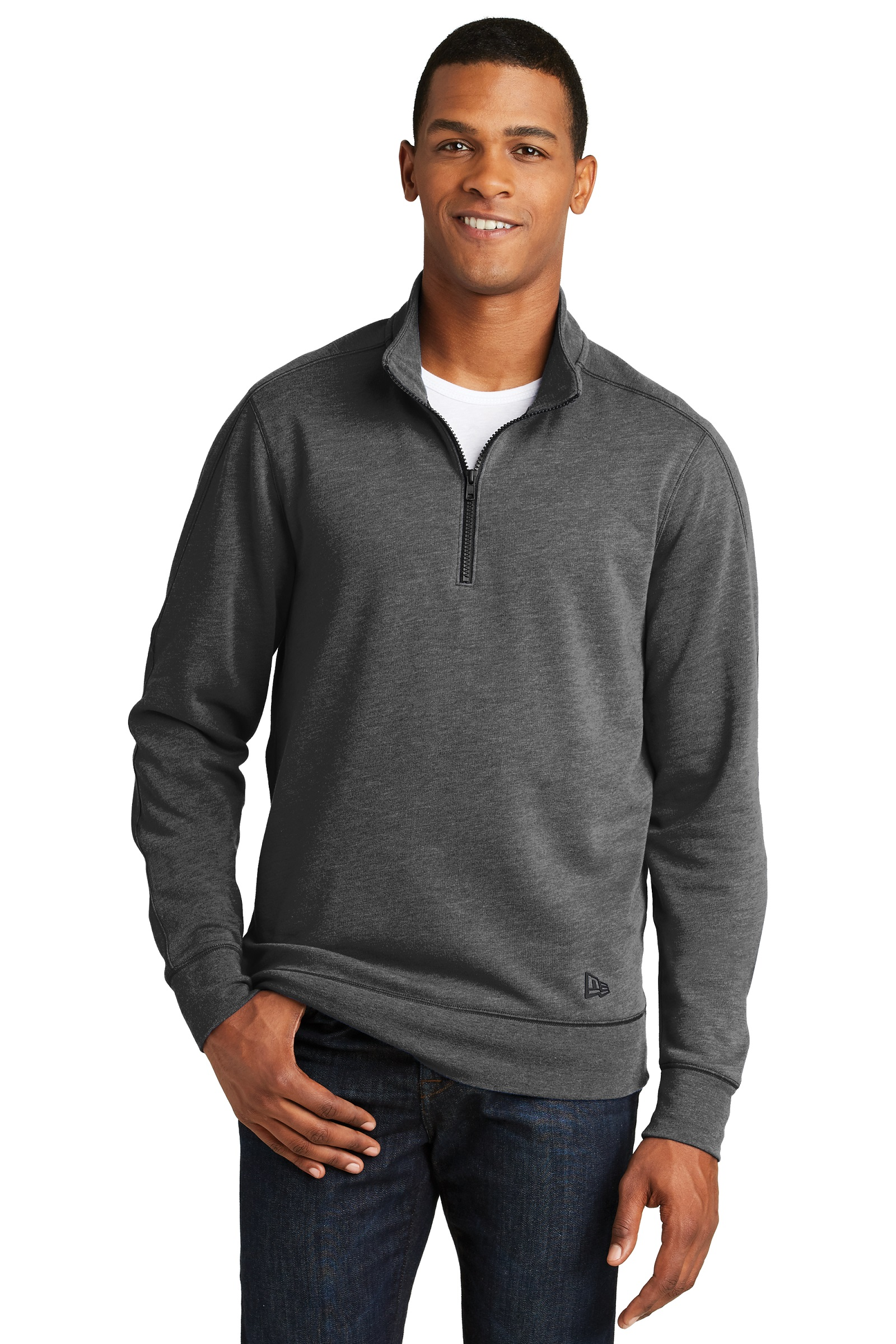 New Era Embroidered Men's 1/4-Zip Pullover Tri-Blend Sweatshirt
