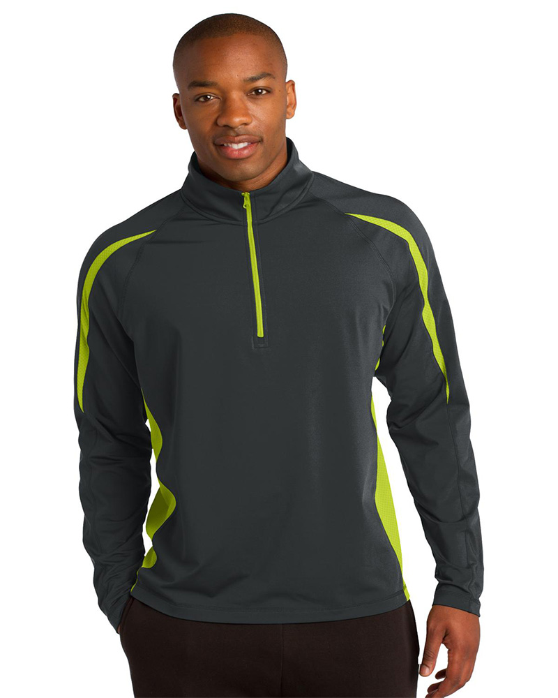 Sport-Tek Embroidered Men's Sport Wick Stretch 1/2 Zip Colorblock Pullover
