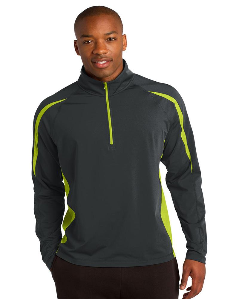 Sport-Tek Embroidered Men's Sport Wick Stretch 1/2 Zip Colorblock Pullover