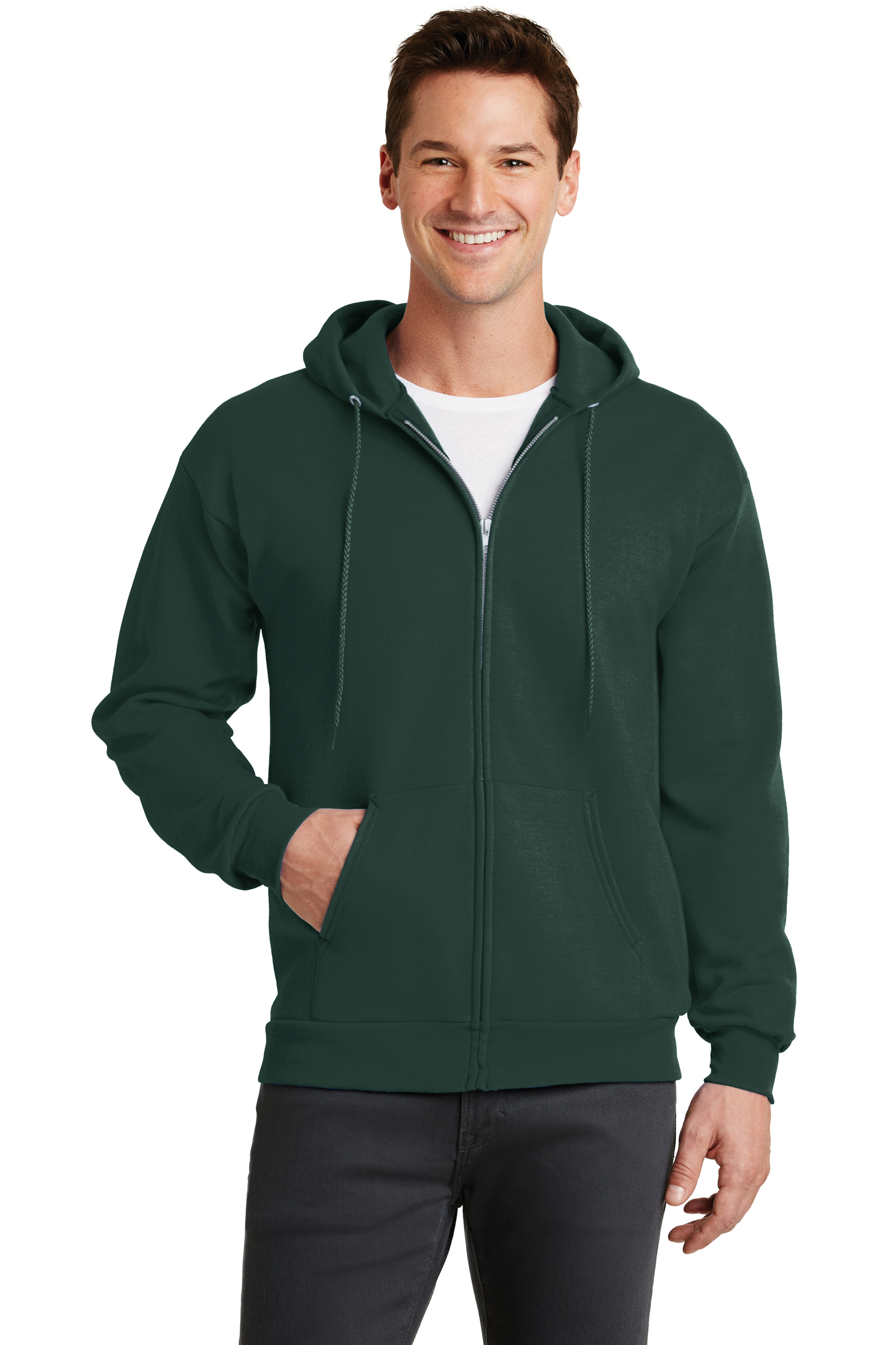Port & Company Embroidered Men's Core Fleece Full-Zip Hooded Sweatshirt
