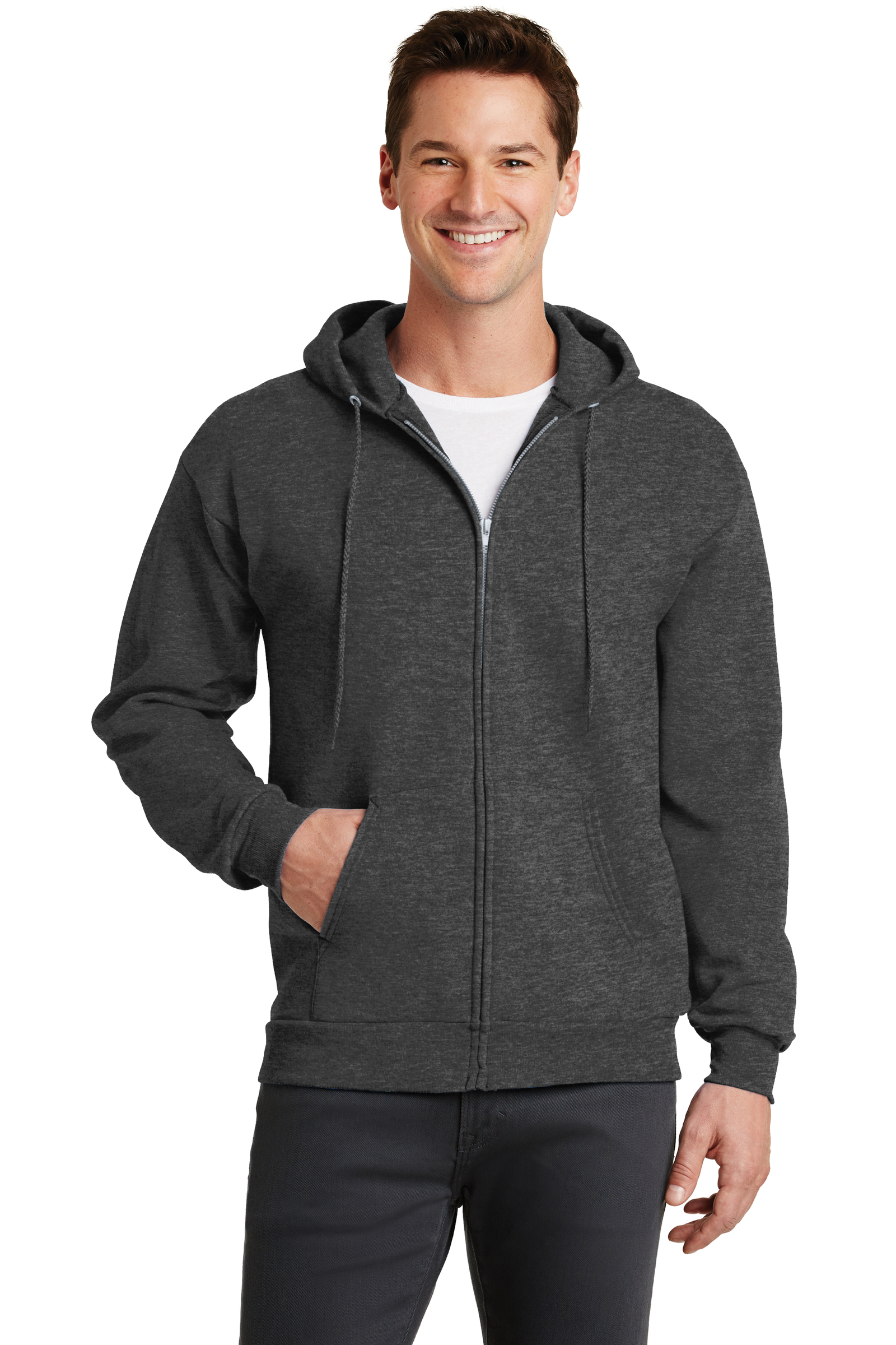 Port & Company Printed Men's Core Fleece Full-Zip Hooded Sweatshirt