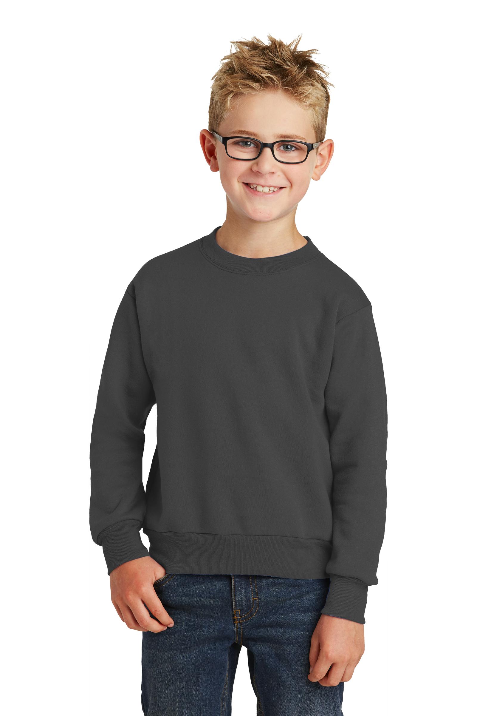 Port & Company Printed Youth Core Fleece Crewneck Sweatshirt