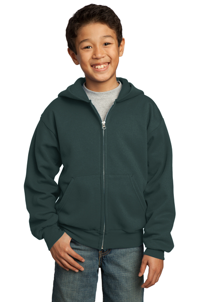 Port & Company Embroidered Youth Core Fleece Full-Zip Hooded Sweatshirt