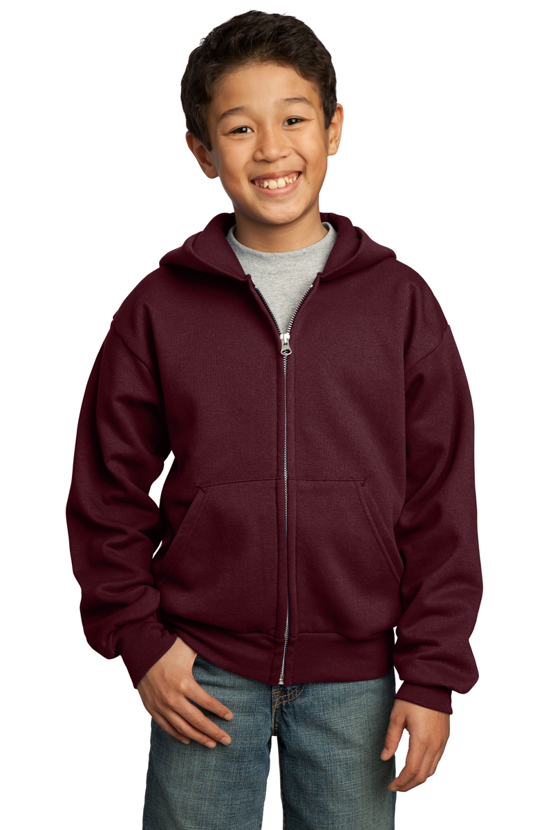 Port & Company Printed Youth Core Fleece Full-Zip Hooded Sweatshirt