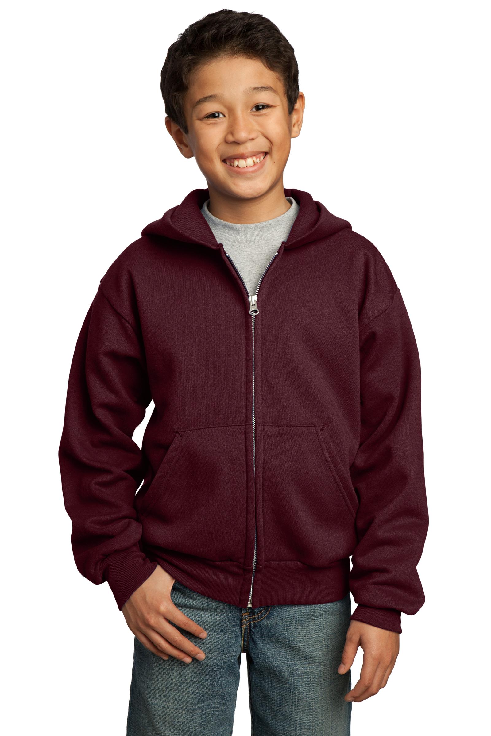 Port & Company Printed Youth Core Fleece Full-Zip Hooded Sweatshirt