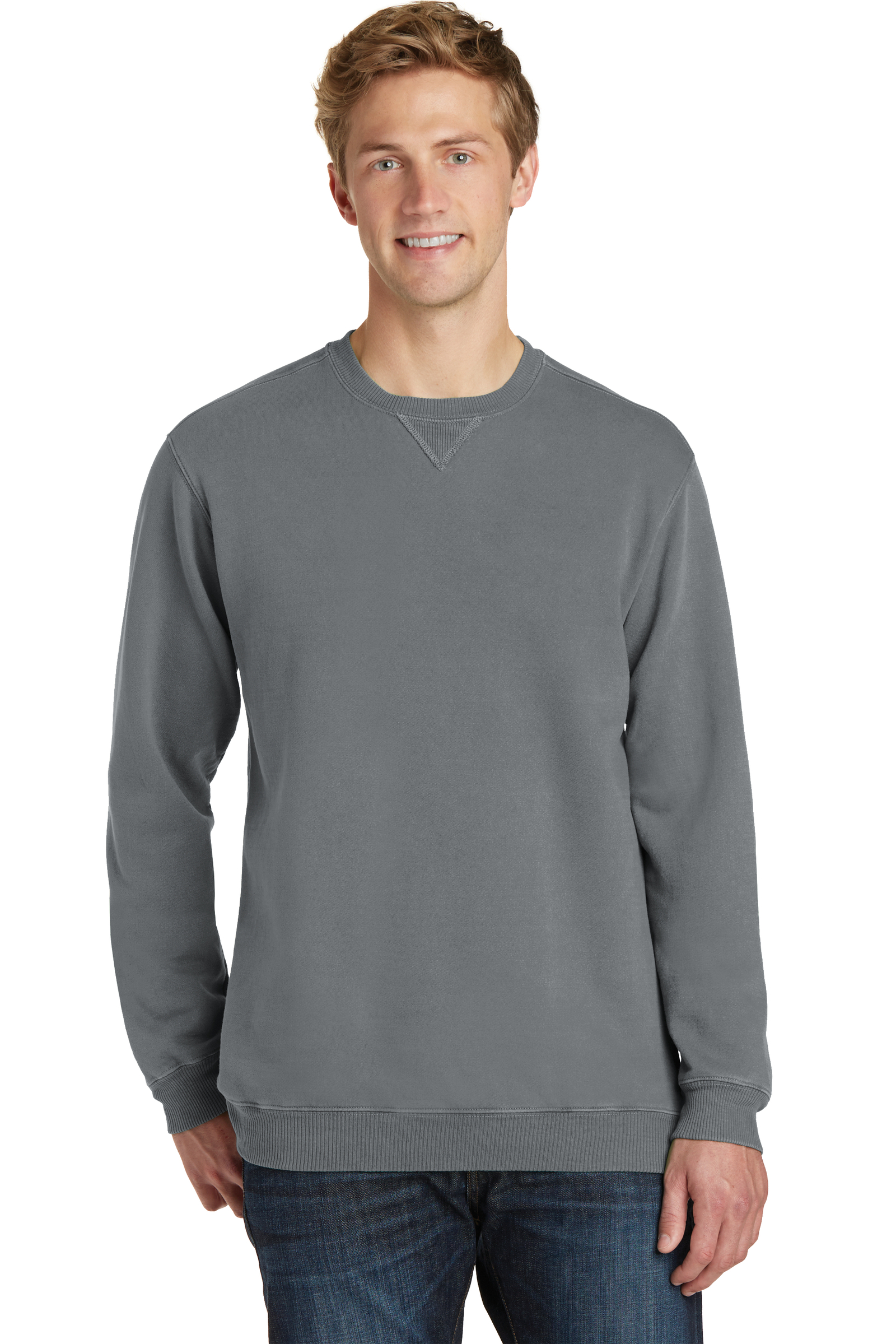 Port & Company Embroidered Beach Wash Garment-Dye Sweatshirt