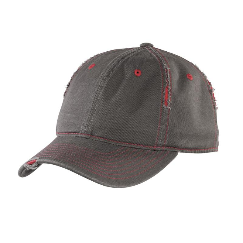 District  Embroidered Rip and Distressed Hat