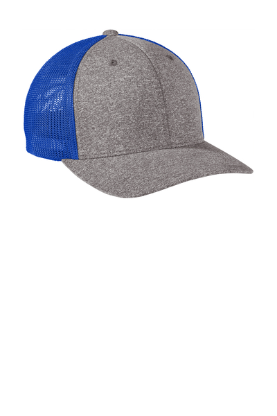 Port Authority Embroidered Flexfit Melange Mesh Back Trucker Hat