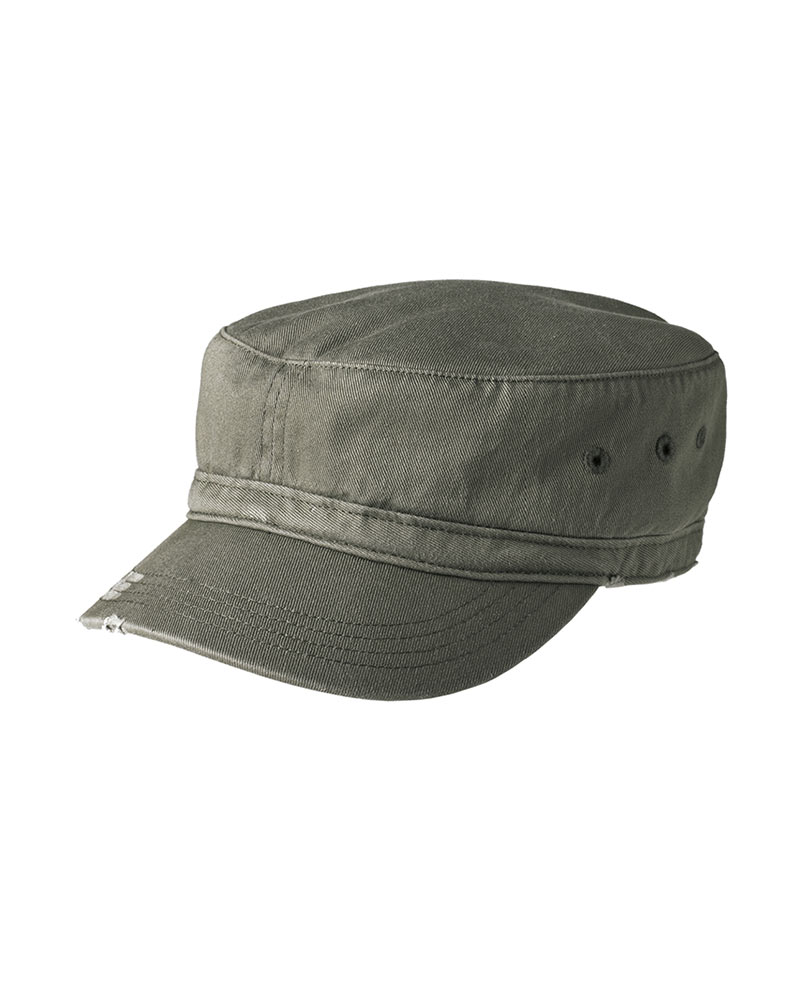 District  Embroidered Distressed Military Hat