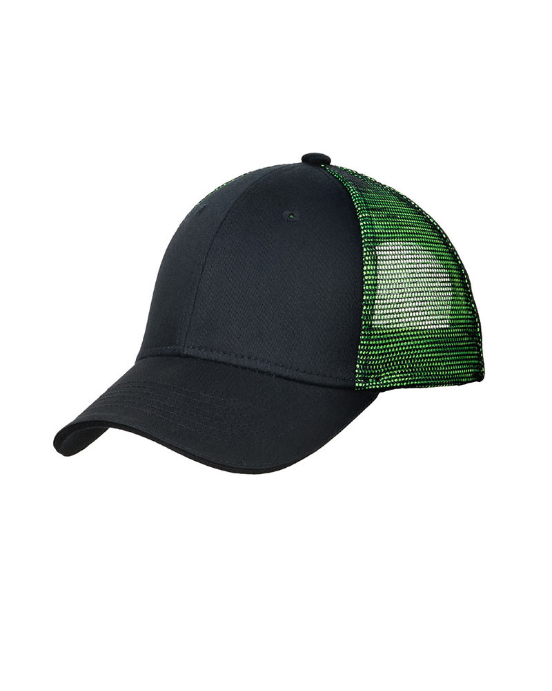 Port Authority  Embroidered Double Mesh Snapback Sandwich Bill Hat